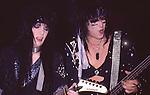 Mick MArs & Nikki Sixx of Motley Crue at Madison Square Garden in NY Aug 1985.
