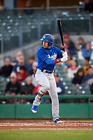 Rancho Cucamonga Quakes center fielder Jeren Kendall (3) at bat during a California League game against the Stockton Ports at Banner Island Ballpark on May 16, 2018 in Stockton, California. Rancho Cucamonga defeated Stockton 6-3. (Zachary Lucy/Four Seam Images)