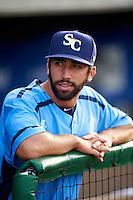 Charlotte Stone Crabs pitcher Benton Moss (40) in the dugout before a game against the Clearwater Threshers on April 12, 2016 at Bright House Field in Clearwater, Florida.  Charlotte defeated Clearwater 2-1.  (Mike Janes/Four Seam Images)