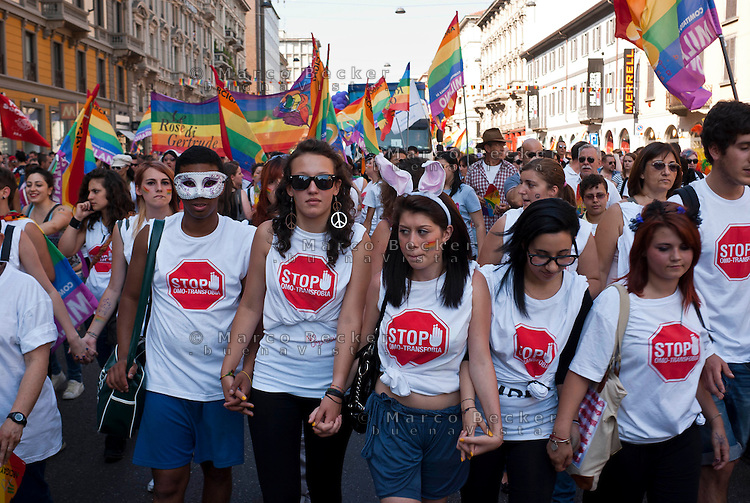Milano, gay pride parade 2011. Stop alla omofobia --- Milan, gay pride parade 2011. Stop Homophobia