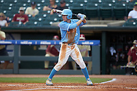 Brian Miller (5) of the North Carolina Tar Heels at bat against the Florida State Seminoles in the 2017 ACC Baseball Championship Game at Louisville Slugger Field on May 28, 2017 in Louisville, Kentucky. The Seminoles defeated the Tar Heels 7-3. (Brian Westerholt/Four Seam Images)