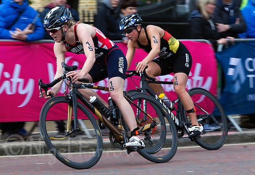 31 MAY 2015 - LONDON, GBR - Vicky Holland (GBR) (left) from Great Britain leads Hanna Philippin (GER) (right) from Germany as they chase the lead pack on the bike during the elite women's 2015 ITU World Triathlon Series round in Hyde Park, London, Great Britain (PHOTO COPYRIGHT © 2015 NIGEL FARROW, ALL RIGHTS RESERVED)