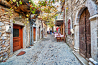 Traditional tavern in the medieval mastic village of Mesta on the island of Chios, Greece
