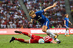 Chelsea Defender Marcos Alonso (L) fights for the ball with Bayern Munich Defender Felix Gotze (R) during the International Champions Cup match between Chelsea FC and FC Bayern Munich at National Stadium on July 25, 2017 in Singapore. Photo by Marcio Rodrigo Machado / Power Sport Images