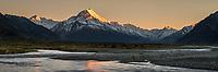 Golden hour of dawn on Aoraki Mount Cook 3,724m with Tasman River, Aoraki Mt. Cook National Park, UNESCO World Heritage Area, Mackenzie Country, New Zealand, NZ