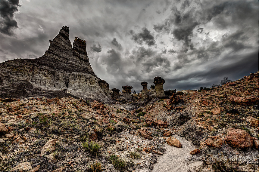 The Twin Peaks, a geologic formation in the Lybrook Badlands of northwestern New Mexico.