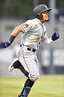 West Virginia Power shortstop Joseph Rosa (2) runs to first base during a game against the Asheville Tourists at McCormick Field on April 18, 2019 in Asheville, North Carolina. The Power defeated the Tourists 12-7. (Tony Farlow/Four Seam Images)