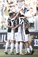 Calcio, Serie A: Torino, Allianz Stadium, 19 agosto 2017. <br /> Juventus' Mario Mandzukic (l) celebrates after scoring with his teammates during the Italian Serie A football match between Juventus and Cagliari at Torino's Allianz Stadium, August 19, 2017.<br /> UPDATE IMAGES PRESS/Isabella Bonotto
