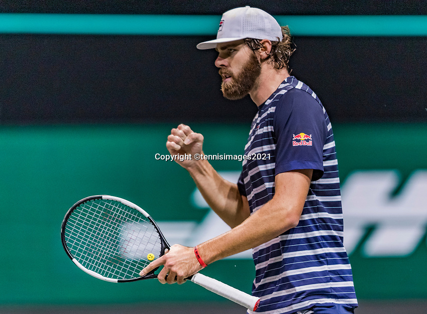 Rotterdam, The Netherlands, 1 march  2021, ABNAMRO World Tennis Tournament, Ahoy, First round match: Reilly Opelka (USA) shows emotion when he wins the seccond set<br /> Photo: www.tennisimages.com