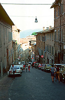 Urbino:  Looking down Via Raffaello.  Photo '83.