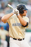 Mac Williamson #7 of the Wake Forest Demon Deacons at bat against the Miami Hurricanes at NewBridge Bank Park on May 25, 2012 in Winston-Salem, North Carolina.  The Hurricanes defeated the Demon Deacons 6-3.  (Brian Westerholt/Four Seam Images)