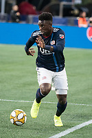 FOXBOROUGH, MA - SEPTEMBER 29: Jalil Anibaba #3 of New England Revolution controls the ball during a game between New York City FC and New England Revolution at Gillettes Stadium on September 29, 2019 in Foxborough, Massachusetts.