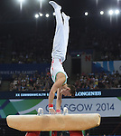 Wales' Iwan Mepham competes in the pommel horse<br /> <br /> Gymnastics artistic - Team final & Individual Qualification <br /> <br /> Photographer Chris Vaughan/Sportingwales<br /> <br /> 20th Commonwealth Games - Day 5 - Monday 28th July 2014 - Gymnastics artistic - The SSE Hydro - Glasgow - UK