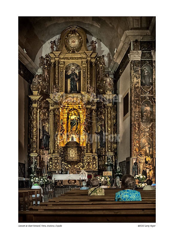 Chapel and main altar, Convent of St. Bernard, Petra, Mallorca, Spain by Larry Angier.