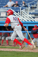 Williamsport Crosscutters outfielder Kelly Dugan (48) during the first game of a double header vs. the Batavia Muckdogs at Dwyer Stadium in Batavia, New York;  August 25, 2010.   Batavia defeated Williamsport 4-3.  Photo By Mike Janes/Four Seam Images