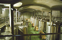 The big fermentation hall at the Oremus winery in Tolcsva, Tokaj: modern stainless steel tanks and new oak barrels. Oremus is owned by the Alvarez family that also owns Vega Sicilia in Spain It is managed by Andras Bacso. Credit Per Karlsson BKWine.com