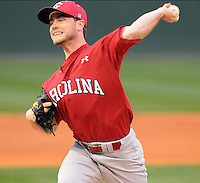 USC LHP Nolan Belcher (15) during a game between the Furman Paladins and South Carolina Gamecocks Tuesday, March 16, 2010, at Fluor Field at the West End in Greenville, S.C. Photo by: Tom Priddy/Four Seam Images