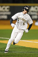 Evan Stephens #5 of the Wake Forest Demon Deacons rounds third base in the bottom of the 5th inning against the Maryland Terrapins at Wake Forest Baseball Park on March 9, 2012 in Winston-Salem, North Carolina.  The Demon Deacons defeated the Terrapins 10-5.  (Brian Westerholt/Four Seam Images)