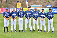Asheville Tourists relief pitchers (L-R) Nick Kennedy (21), Bobby Johnson (22), Jake Bird (33), Mike Nikorak (30), Alexander Martinez (28), PJ Poulin (15) and Eric Hepple (19) during media day at McCormick Field on April 2, 2019 in Asheville, North Carolina. (Tony Farlow/Four Seam Images)