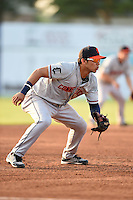 Connecticut Tigers third baseman Steven Fuentes (24) during a game against the Batavia Muckdogs on July 21, 2014 at Dwyer Stadium in Batavia, New York.  Connecticut defeated Batavia 12-3.  (Mike Janes/Four Seam Images)