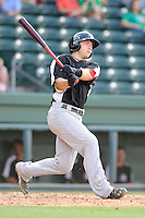 Catcher David Lyon (36) of the Hickory Crawdads bats in a game against the Greenville Drive on Friday, June 7, 2013, at Fluor Field at the West End in Greenville, South Carolina. Greenville won the resumption of this May 22 suspended game, 17-8. (Tom Priddy/Four Seam Images)