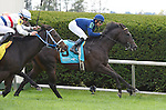 No Nay Never (no. 9), ridden by Mike Smith and trained by Wesley Ward, wins the 18th running of the grade 3 Woodford Stakes for three year olds and upward on October 04, 2014 at Keeneland in Lexington, Kentucky.  (Bob Mayberger/Eclipse Sportswire)