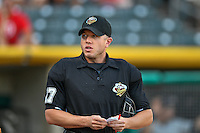 Home plate umpire Alberto Ruiz before the game against the Salt Lake Bees and the Tacoma Rainiers in Pacific Coast League action at Smith's Ballpark on July 23, 2016 in Salt Lake City, Utah. The Rainiers defeated the Bees 4-1. (Stephen Smith/Four Seam Images)