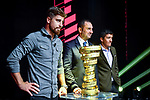 Peter Sagan, Vincenzo Spadafora and Richard Carapaz on stage at the route presentation for the 103rd edition of the Giro d'Italia 2020. L-R Renato Di Rocco, Vincenzo Spadafora, Urbano Cairo, Giuseppe Sala. Held in the RAI Studios, Milan, Italy. <br /> 24th October 2019.<br /> Picture: LaPresse/Claudio Furlan   Cyclefile<br /> <br /> All photos usage must carry mandatory copyright credit (© Cyclefile   LaPresse/Claudio Furlan)