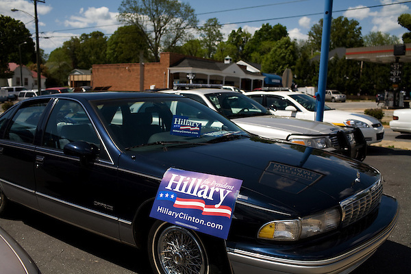 May 4, 2008. Morganton, NC.. Just 2 days before the North Carolina primary, former president Bill Clinton campaigned across rural western North Carolina, stumping for his wife. Senator Hillary Clinton, in her drive for rural and working class votes.. A Hillary sign at a car dealership.