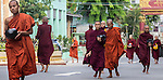 18 JUNE 2015, Mandalay, Myanmar:  Young monks arrive back after collecting alms to the Masoeyein Monastery, the home of 969 activist Monk Wirathu, in Mandalay, Myanmar. Picture Graham Crouch/The Australian Magazine