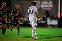 LAKE BUENA VISTA, FL - JULY 23: Cristian Pavon #10 of the LA Galaxy celebrates a goal during a game between Los Angeles Galaxy and Houston Dynamo at ESPN Wide World of Sports on July 23, 2020 in Lake Buena Vista, Florida.