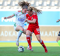 Marie Detruyer (17) of OHL and Davinia Vanmechelen (10) of Standard battle for the ball during a female soccer game between Oud Heverlee Leuven and Standard Femina de Liege on the third matchday of the 2021 - 2022 season of Belgian Womens Super League , Sunday 5 th of September 2021  in Leuven , Belgium . PHOTO SPORTPIX.BE | SEVIL OKTEM