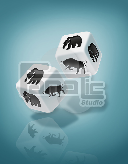 Illustrative image of dices with bull and bear print representing risk in stock market