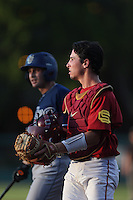 Garret Stubbs #51 of the Southern California Trojans during a game against the UC Irvine Anteaters at Dedeaux Field on April 29, 2014 in Los Angeles, California. Stanford defeated Southern California, 6-2. (Larry Goren/Four Seam Images)
