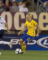Sweden forward Linnea Liljegard (11) brings the ball forward. The US Women's national team beat Sweden, 3-0, at Rentschler Field on July 17, 2010.
