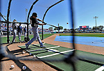 12 March 2011: New York Yankees' outfielder Jordan Parraz takes batting practice prior to a Spring Training game against the Washington Nationals at Space Coast Stadium in Viera, Florida. The Nationals edged out the Yankees 6-5 in Grapefruit League action. Mandatory Credit: Ed Wolfstein Photo