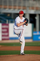 Harrisburg Senators starting pitcher Logan Darnell (19) delivers a pitch during a game against the Erie SeaWolves on August 29, 2018 at FNB Field in Harrisburg, Pennsylvania.  Harrisburg defeated Erie 5-4.  (Mike Janes/Four Seam Images)