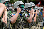 Venezuelan soldiers march during a military parade in Caracas, Venezuela, on Wednesday, Jul. 05, 2006. The military parade was to celebrate the 195th anniversary of the Venezuelan Independence from Spain.(ALTERPHOTOS/Alvaro Hernandez)