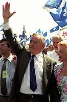 FILE - Jacques Parizeau participe au defile de la Saint-Jean-Baptiste,  (date inconnue)<br /> <br /> PHOTO  :  Agence Quebec Presse