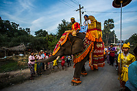 18-year-old elephant Pho Khwar and his mahout Kalu Say who is also 18 are seen traditionally dressed as they are hired by a Burmese family to perform at the ceremony of their children becoming novice monks. The domestic-born elephant Pho Khwar worked at a logging camp for a few years before becoming an entertainment elephant earning on average 500000 Kyats per day for his owners by performing at events and Buddhist ceremonies. His mahout Kalu Say earns 5000 Kyats per day.