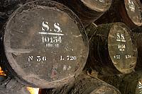 Oak barrel aging and fermentation cellar. The Moscatel de Setubal cellar. JM Jose Maria da Fonseca, Azeitao, Setubal, Portugal