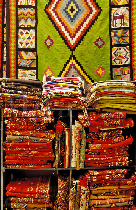 Tunisia. Sfax.  Rugs and blankets in the souk