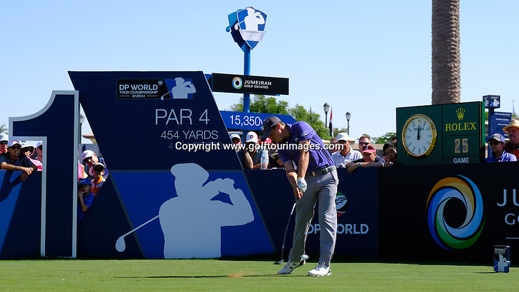 Matthew Fitzpatrick (ENG) during round two of the 2016 DP World Tour Championships played over the Earth Course at Jumeirah Golf Estates, Dubai, UAE: Picture Stuart Adams, www.golftourimages.com: 11/18/16