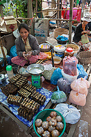 Cambodia.  Woman Selling Assorted Foodstuffs in Market near Siem Reap.