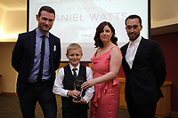 Pictured: Under 12 winner Daniel Watts (2nd L) Saturday 27 May 2017<br /> Re: Swansea City FC Academy Awards Evening at the Liberty Stadium, Wales, UK