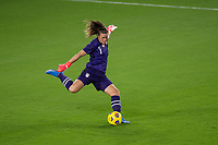 ORLANDO CITY, FL - FEBRUARY 18: Alyssa Naeher #1 plays the ball during a game between Canada and USWNT at Exploria stadium on February 18, 2021 in Orlando City, Florida.