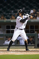 Eddy Alvarez (10) of the Charlotte Knights at bat against the Buffalo Bison at BB&T BallPark on August 14, 2018 in Charlotte, North Carolina. The Bison defeated the Knights 14-5.  (Brian Westerholt/Four Seam Images)