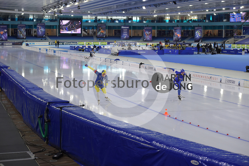SPEEDSKATING: HEERENVEEN: 14-02-2021, IJsstadion Thialf, ISU World Speed Skating Championships 2021, Nils van der Poel, World Record 10k 12.32.95, ©photo Martin de Jong