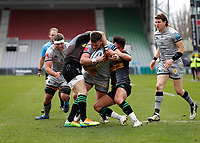 20th February 2021; Twickenham Stoop, London, England; English Premiership Rugby, Harlequins versus Sale Sharks; Ewan Ashman of Sale Sharks attempting to score a try but is tackled by Marcus Smith and Mike Brown of Harlequins