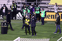 COLUMBUS, OH - DECEMBER 12: Columbus Crew SC owners Dee Haslam and Jimmy Haslam waive towards the supporters section before a game between Seattle Sounders FC and Columbus Crew at MAPFRE Stadium on December 12, 2020 in Columbus, Ohio.